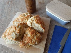 Ploughman's cheddar, apple & pickle scones